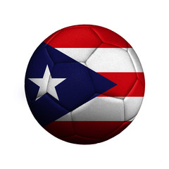 The flag of Puerto Rico is depicted on a soccer ball