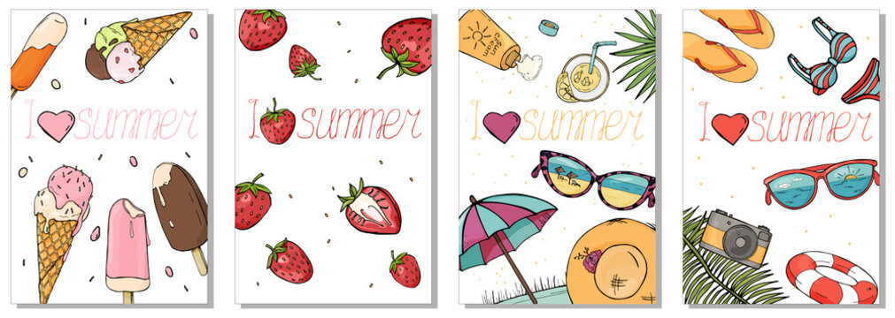 Collection of colorful cards on the summer theme. Vector illustration in sketch style. Strawberry berries, ice cream and beach accessories.