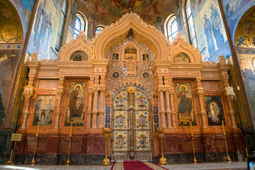 RUSSIA, SAINT PETERSBURG - AUGUST 18, 2017: Interior of Church of the Savior on Spilled Blood in Saint Petersburg, Russia