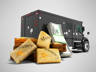 Modern concept of transporting money in bank of black truck with an armored car 3d render on gray background with shadow