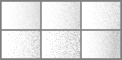 Halftone abstract gradient random dots backgrounds. A4 paper size. Vector illustration. Black white backdrop using halftone circle dots raster pattern texture. Vector illustration Wall mural