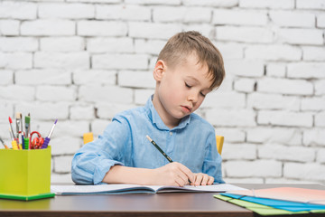 Young boy learning for school with his books