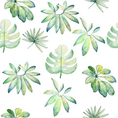 Tropical seamless watercolor pattern with green leaves.