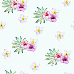 Tropical seamless watercolor pattern with green leaves and flowers.