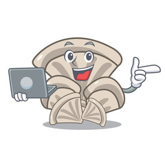 With laptop oyster mushroom character cartoon