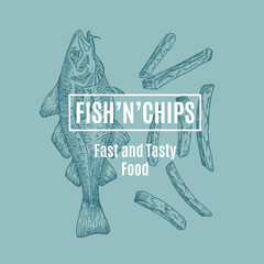 Fish and Chips Abstract Vector Card, Sign or Logo Template. Hand Drawn Cod Fish and Potato Fries with Modern Typography in a Frame. Premium Quality Vector Emblem.