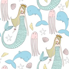 Vector seamless pattern with a mermaid and an octopus, dolphin