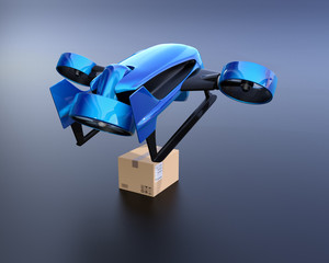 Metallic blue VTOL drone carrying delivery packages takeoff from black background. 3D rendering image.