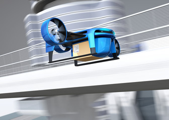 Metallic blue VTOL drone with delivery packages flying beside highway bridge. Concept for fast delivery service. 3D rendering image.