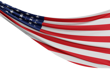 The national flag of United States. Waving fabric flag with texture draped on a plain white background. 3D Rendering