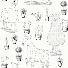 Vector seamless pattern with houseplants in pots and lamas