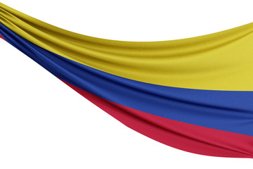 The national flag of Colombia. Waving fabric flag with texture draped on a plain white background. 3D Rendering