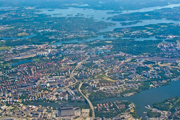 Aerial shot over Solna and Friend's Arena