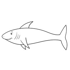 Coloring page for kids. Cartoon character shark. Vector illustration