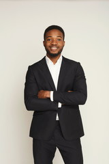 Handsome young black man portrait at studio background.