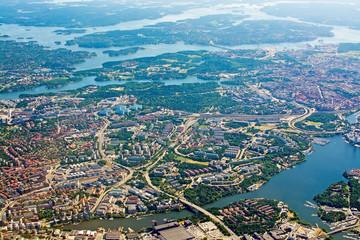 Aerial shot over Solna Lidingo Sweden
