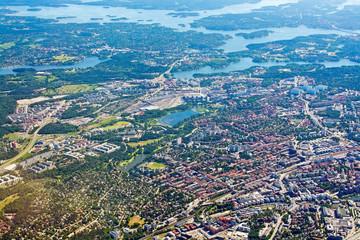 Aerial shot over Solna Sundbyberg Stockholm