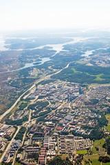 Aerial shot over IT center Kista Stockholm