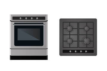 Kitchen gas stove. The household equipment. Vector illustration. Front and top view.