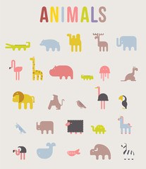 Cute Animals Vector illustration Icon Set isolated on a white background. Geometric vector illustration flat design