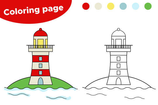 Educational game for children. Cartoon lighthouse coloring page. Vector illustration