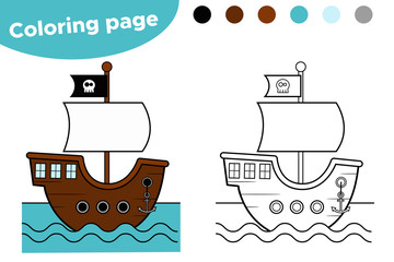 Coloring page for kids. Pirate cartoon ship. Vector illustration