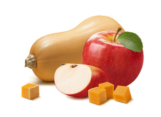 Butternut and red apple isolated on white background