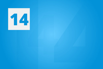 14 - Number fourteen on blue technology background for example as background or concept template