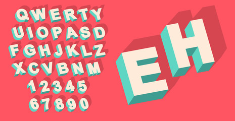 Vector of Vintage type alphabet with 3d threedimentional effect and shadow