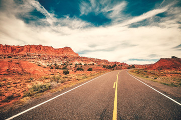 Scenic road in the Capitol Reef National Park, color toned picture, Utah, USA.