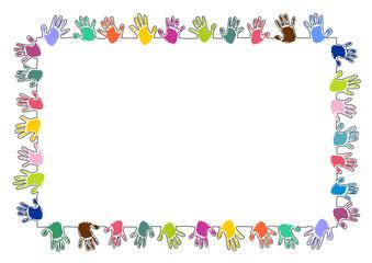 Rechteckiger Rahmen aus bunten Handabdrücken