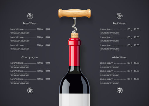 Red Wine bottle, cork and corkscrew concept design for wines