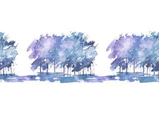 Seamless watercolor background, border. Watercolor forest, blue silhouette of trees, bushes, fur tree, pine tree. Field. Country view. Postcard, banner, logo, card. Splash of paint. Art illustration