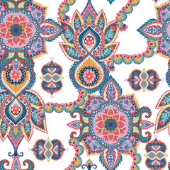 Seamless paisley pattern. Oriental design for fabric, prints, wrapping paper, card, invitation, wallpaper. Vector illustration