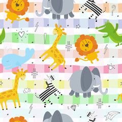 Cute hand drawn funny animals. Seamless pattern.