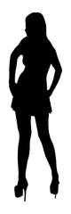 Black silhouette of woman over transparent background. Vector illustration