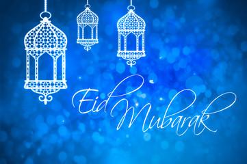 Eid Mubarak greeting for Islamic Holidays, Eid Al-Fitr and Eid Al-Adha.
