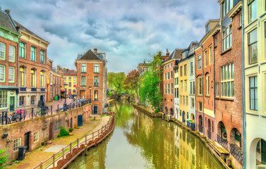 Traditional houses along a canal in Utrecht, Netherlands