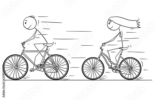Cartoon Stick Drawing Illustration Of Man And Woman Or Girl And Boy