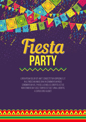 Vector design of colorful amusing poster advertising Fiesta party on purple background with vivid flags and ornaments