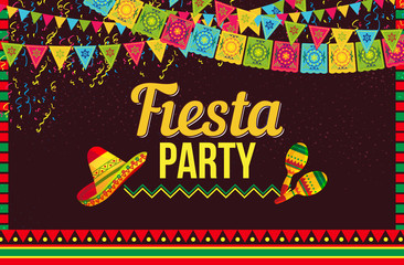 Stylish vector design of poster with Fiesta party invitation in layout with sombrero hats and shakers on brown background
