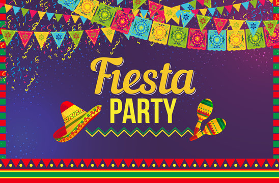 Stylish vector design of multicolored poster with flags and ornaments advertising traditional Fiesta party event
