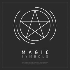 Wall Mural - Simple design of magic symbol showing white linear pictogram in circle on gray background