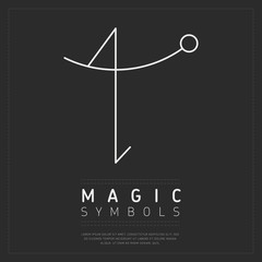 Wall Mural - Element of spiritual magic symbol in white lines on gray poster