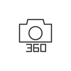 Angle 360 degrees photo camera outline icon. linear style sign for mobile concept and web design. simple line vector icon. Symbol, logo illustration. Pixel perfect vector graphics