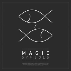Wall Mural - Magic symbol of white linear fish placed on dark gray web background