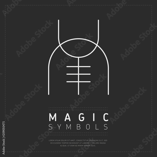 Simple Template Of White Mysterious Symbol Of Witchcraft On Dark