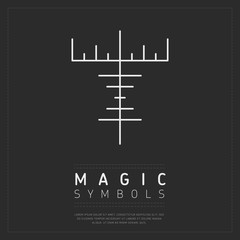 Wall Mural - Minimalist design of white linear symbol for magical craft on dark gray backdrop