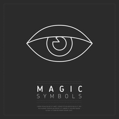 Wall Mural - Linear white esoteric symbol of eye placed on gray poster with label Magic Symbols