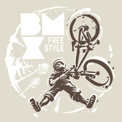 Bmx jump. Sketch style vector illustration